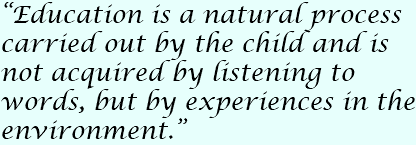 """Education is a natural process carried out by the child and is not acquired by listening to words, but by experiences in the environment."""